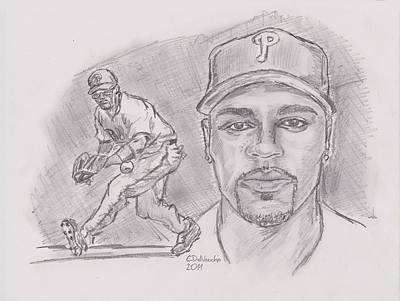Poster featuring the drawing Jimmy Rollins Jroll by Chris  DelVecchio