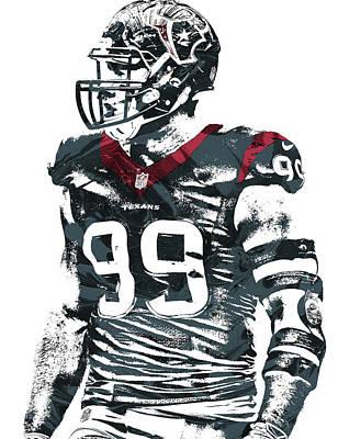 Jj Watt Houston Texans Pixel Art 6 Poster by Joe Hamilton