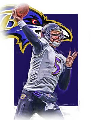 Joe Flacco Baltimore Ravens Oil Art Poster by Joe Hamilton