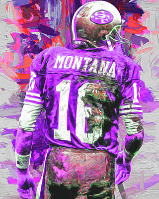 Joe Montana 16 San Francisco 49ers Football Poster by David Haskett