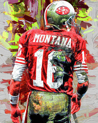 Joe Montana Football Digital Fantasy Painting San Francisco 49ers Poster by David Haskett