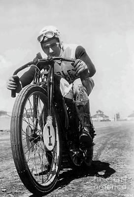 Joe Petrali On His Harley Circa 1937 Poster by Jon Neidert