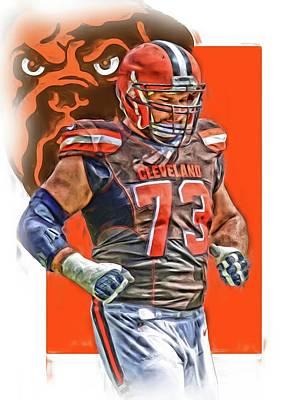 Joe Thomas Cleveland Browns Oil Art Poster by Joe Hamilton