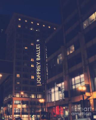 Joffrey Ballet Sign At Night Poster