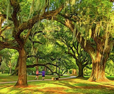 Jogging In City Park - New Orleans - Paint Poster by Steve Harrington