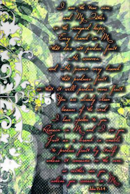 John 15 1 4 Poster by Michelle Greene Wheeler