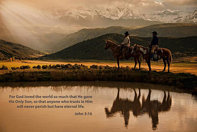 Poster featuring the photograph John 3 16 Scripture And Picture by Ken Smith