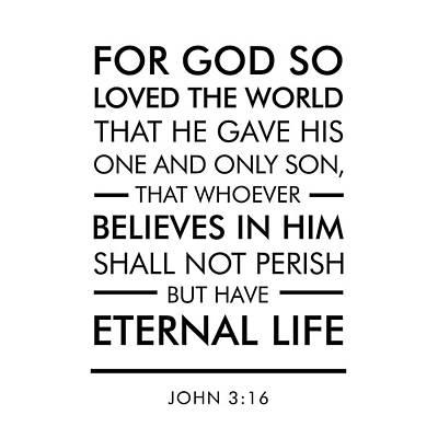 John 3-16 - Spiritual Wall Art - Bible Verses Art Poster