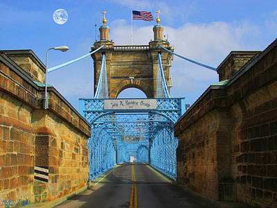John A. Roebling Suspension Bridge Poster by Michael Rucker