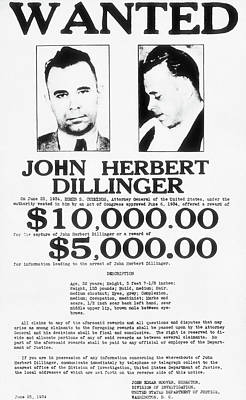 John Dillinger Wanted Poster 1934  Poster by F B I