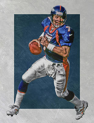 John Elway Denver Broncos Art Poster by Joe Hamilton