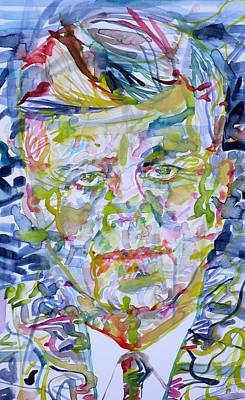 Poster featuring the painting John F. Kennedy - Watercolor Portrait.2 by Fabrizio Cassetta