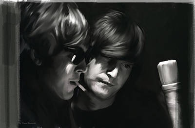Poster featuring the painting John Lennon Paul Mccartney Wordscapes  by Iconic Images Art Gallery David Pucciarelli