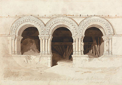 John Sell Cotman - Arches In The West Side Of The Cloister Of Saint Georges De Bocherville Poster by John Sell Cotman