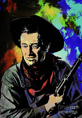 Poster featuring the painting John Wayne, by Andrzej Szczerski