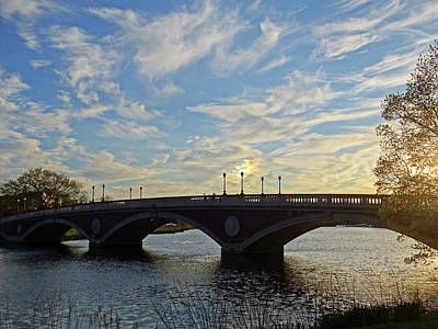 John Weeks Bridge Harvard Square Chales River Sunset Poster by Toby McGuire