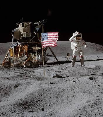 John Young On The Moon Poster by Otis Porritt