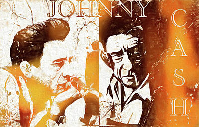 Johnny Cash Grunge Poster