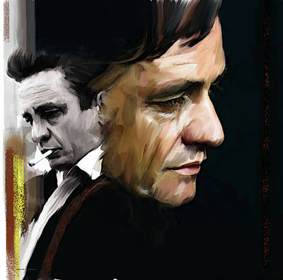 Poster featuring the painting Johnny Cash  Hurt by Iconic Images Art Gallery David Pucciarelli