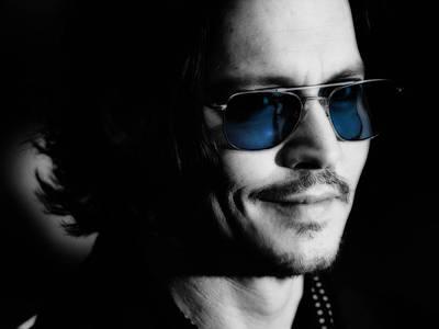 Johnny Depp Blue Glasses Poster