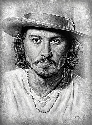 Johnny Depp Grey Scratch Poster by Andrew Read