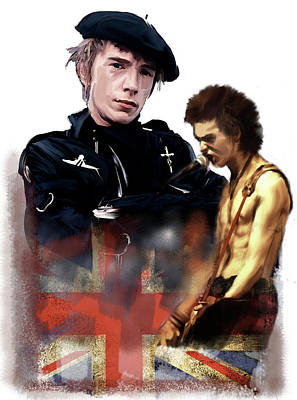 Poster featuring the painting Johnny Rotten And Sid Vicious Revolution In The Head  by Iconic Images Art Gallery David Pucciarelli