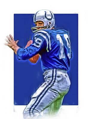 Johnny Unitas Baltimore Colts Oil Art Poster by Joe Hamilton