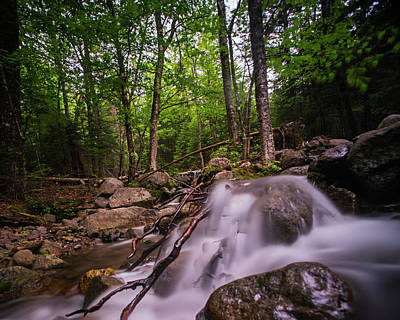 Johns Brook Trail Big Slide Mountain Keen Valley Ny Waterfall Running Water Poster
