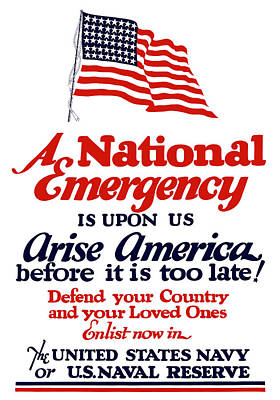 Arise America Before It Is Too Late - Join The Navy Poster