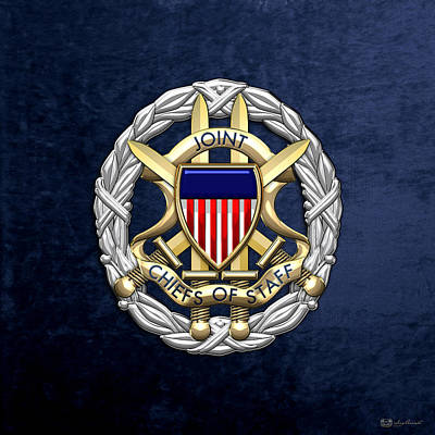 Joint Chiefs Of Staff - J C S Identification Badge On Blue Velvet Poster by Serge Averbukh