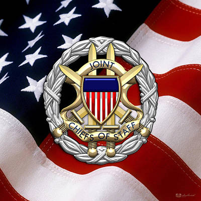 Joint Chiefs Of Staff - J C S Identification Badge Over U. S. Flag Poster by Serge Averbukh