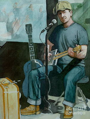 Poster featuring the painting Jon Short-have Blues Will Travel by Lynn Babineau