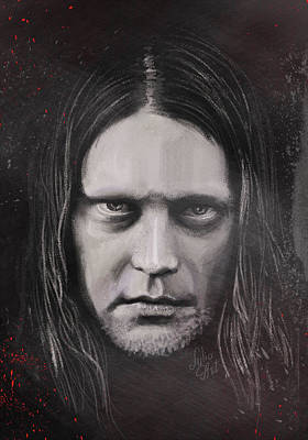 Poster featuring the drawing Jonas P Renkse Musician From Katatonia Band By Julia Art by Julia Art