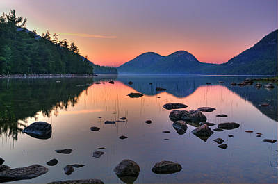 Jordan Pond At Sunset Poster by Thomas Schoeller