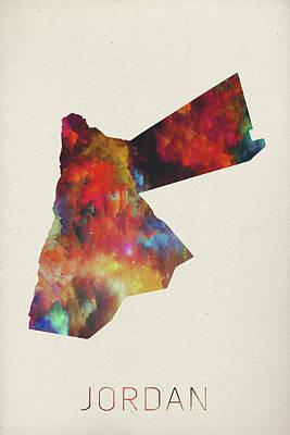 Jordan Watercolor Map Poster