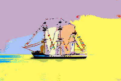 Poster featuring the painting Jose Gasparilla Sailing Colorful Tampa Bay by David Lee Thompson