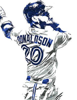 Poster featuring the mixed media Josh Donaldson Toronto Blue Jays Pixel Art by Joe Hamilton
