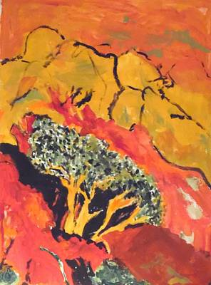 Poster featuring the painting Joshua Trees In The Negev by Esther Newman-Cohen