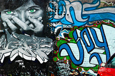 Poster featuring the painting Joy Graffiti Wall  by Yurix Sardinelly