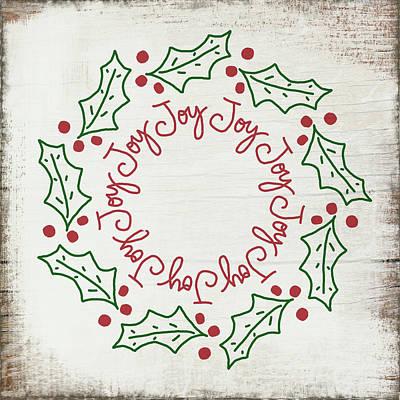 Joy Holly Wreath- Art By Linda Woods Poster