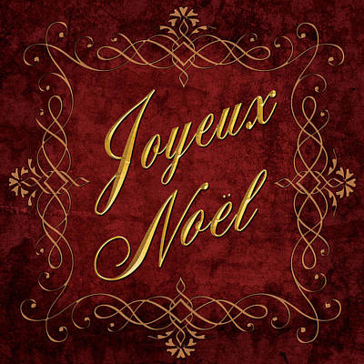 Joyeux Noel In Red And Gold Poster by Caitlyn  Grasso