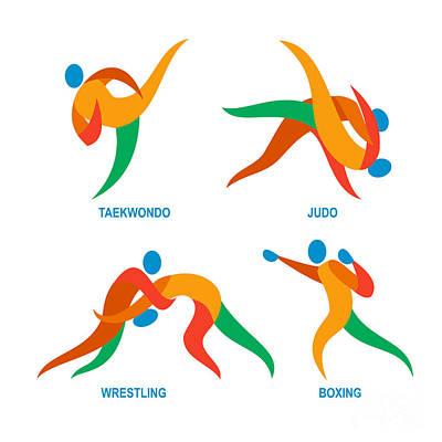 Judo Taekwondo Boxing Wrestiling Icon Poster