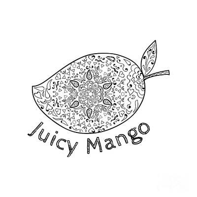 Juicy Mango Black And White Mandala  Poster