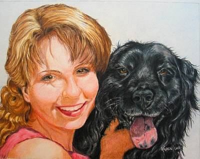 Poster featuring the drawing Juli And Sam by Karen Ilari