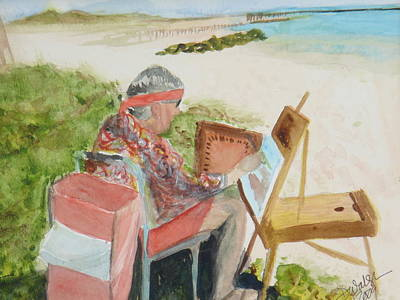 Poster featuring the painting Julia Painting At Boynton Inlet Beach  by Donna Walsh