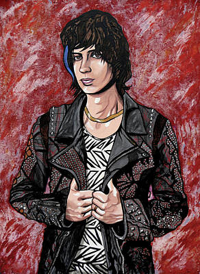 Poster featuring the painting Julian Casablancas Red by Sarah Crumpler