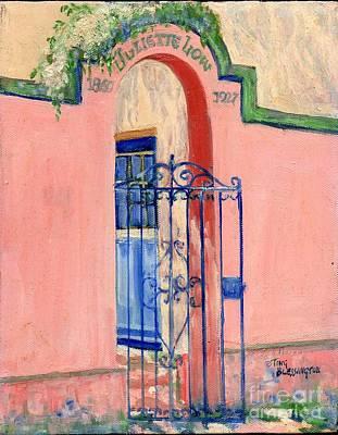 Poster featuring the painting Juliette Low Garden Gate Savannah by Doris Blessington