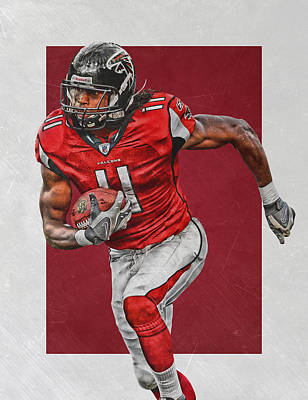 Julio Jones Atlanta Falcons Art Poster by Joe Hamilton