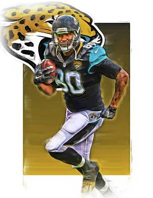 Julius Thomas Jacksonville Jaguars Oil Art Poster by Joe Hamilton