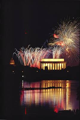 July 4th Fireworks Over The Lincoln Poster by Medford Taylor